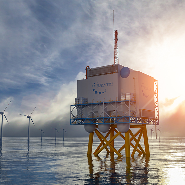 Hydrogen renewable offshore energy production - hydrogen gas for clean electricity solar and windturbine facility. 3d rendering.
